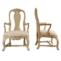 Pair of 19th Century Carved Wood Rococo Armchairs