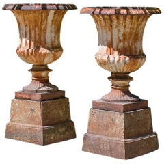 Pair of 19th Century Cast Iron Campan Garden Urns