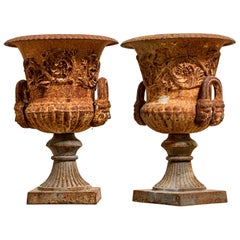 Pair of 19th Century Cast Iron Garden Urns
