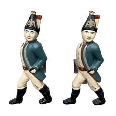 Pair of 19th Century Cast Iron Hessian Soldier Andirons