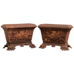 Pair of 19th Century Cast Iron Planters Troughs with Applied Cast Plaques