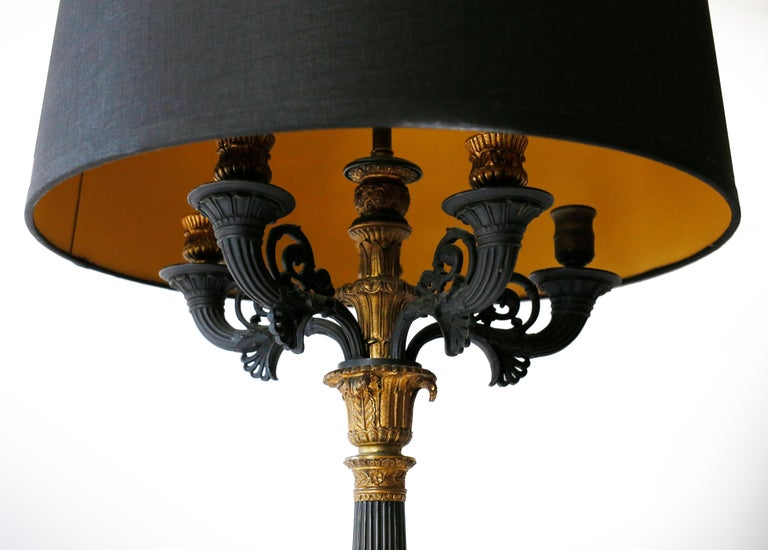 French Pair of 19th Century Charles X Bronze Doré Candelabra Lamps For Sale