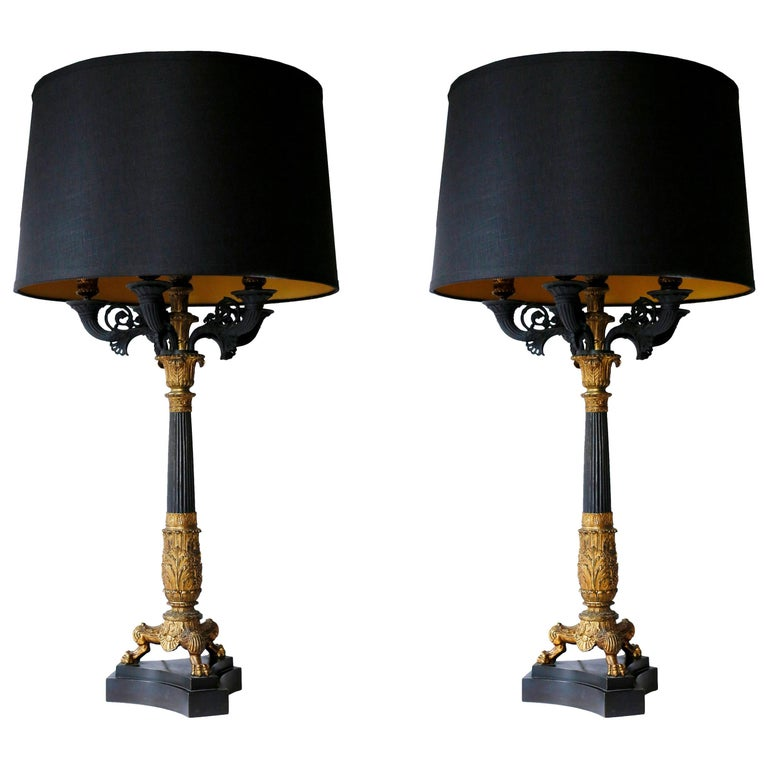 Pair of 19th Century Charles X Bronze Doré Candelabra Lamps For Sale