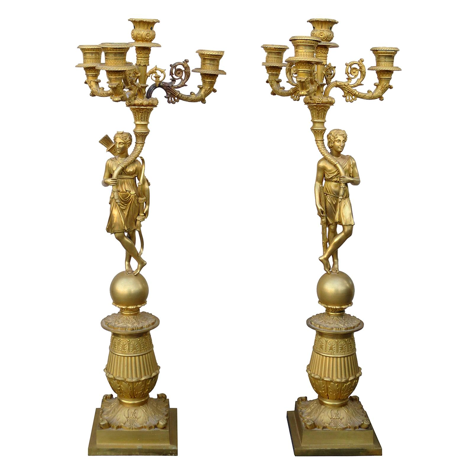 Pair of 19th Century Charles X Gilt Bronze Figural Ormolu Candelabra