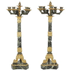 Pair of 19th Century Charles X Style Candelabra in Marble and Bronze
