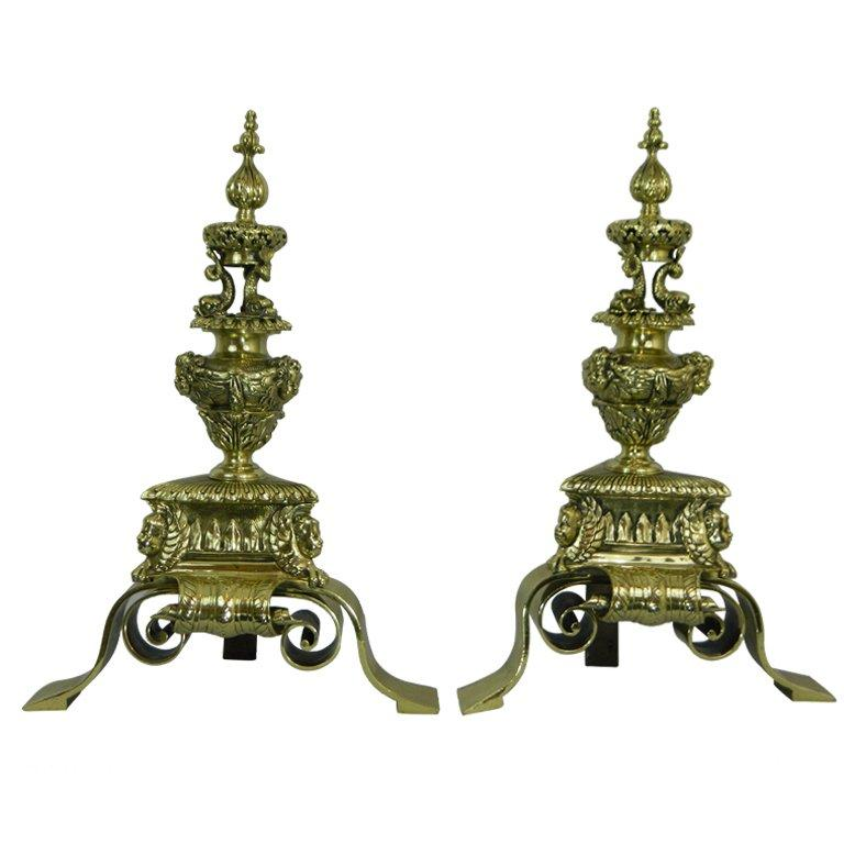 Pair of 19th Century Chenets or Andirons Beautifully Adorned For Sale
