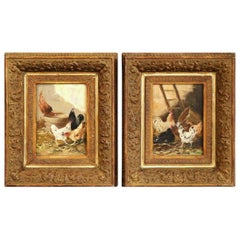 Pair of 19th Century Chicken Paintings in Gilt Frames Signed E. Coppenolle