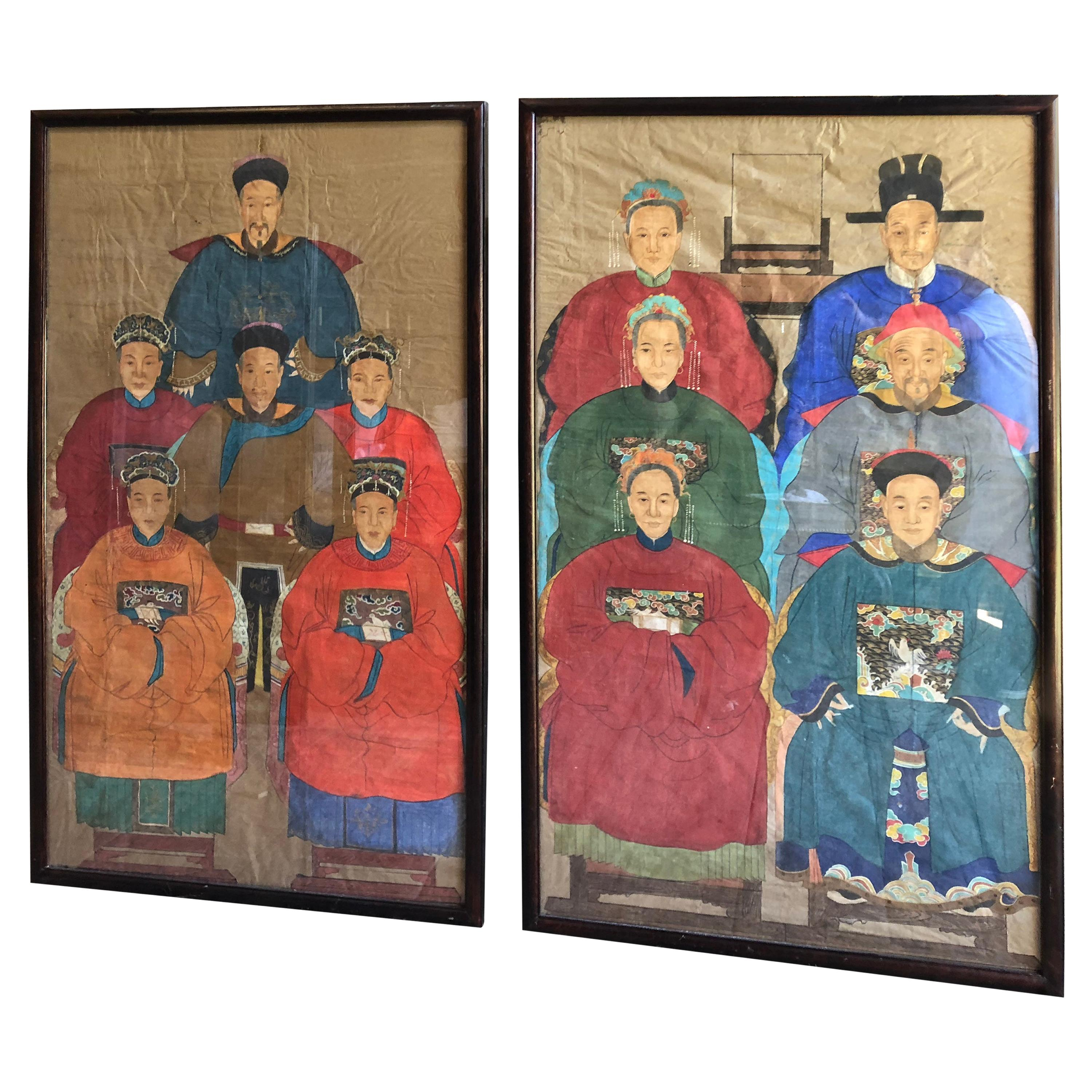 Pair of 19th Century Chinese Ancestor Portraits, Large Size, Framed