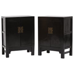 Pair of 19th Century Chinese Black Lacquer Locking Cabinets