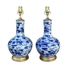 Pair of 19th Century Chinese Blue and White Porcelain Vases as Lamps