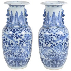 Pair of 19th Century Chinese Blue and White Vases / Lamps
