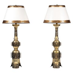 Pair of 19th Century Chinese Bronze Altar Stick Lamps