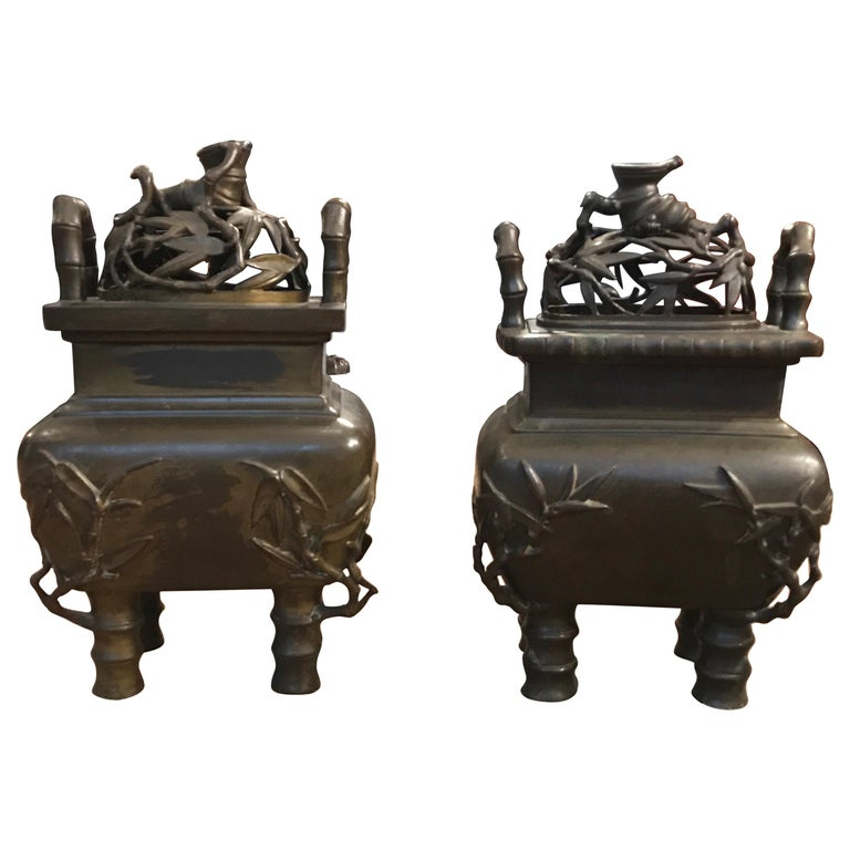 Pair of 19th Century Chinese Bronze Censer Urns For Sale