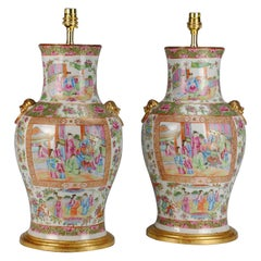 Pair of 19th Century Chinese Canton Baluster Porcelain Antique Table Lamps