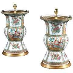 Pair of 19th Century Chinese Canton Gu Famille Rose Table Lamps
