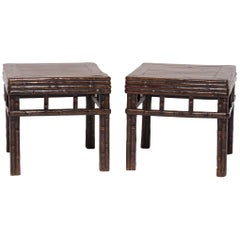 Pair of 19th Century Chinese Carved Bamboo Square Stools