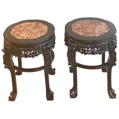 Pair of 19th Century Chinese Carved Side Tables with Marble Inserts