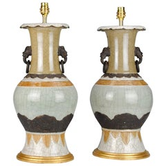 Pair of 19th Century Chinese Celadon Porcelain Baluster Antique Table Lamps