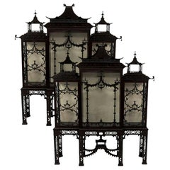Pair of 19th Century Chinese Chippendale Pagoda Cabinets