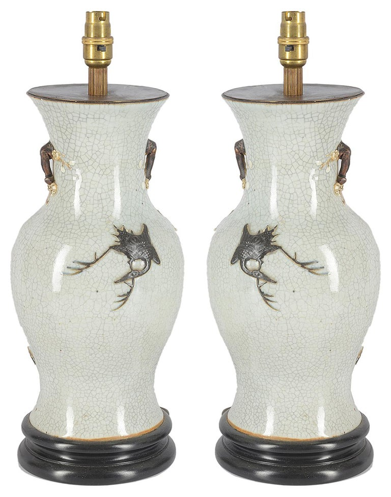 Pair of 19th Century Chinese Crackleware Vases or Lamps In Good Condition For Sale In Brighton, Sussex