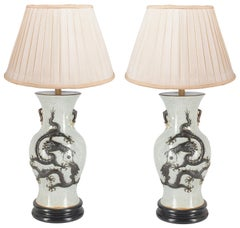 Pair of 19th Century Chinese Crackleware Vases or Lamps