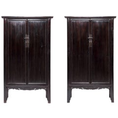 Pair of 19th Century Chinese Cusped Apron Scholars' Cabinets