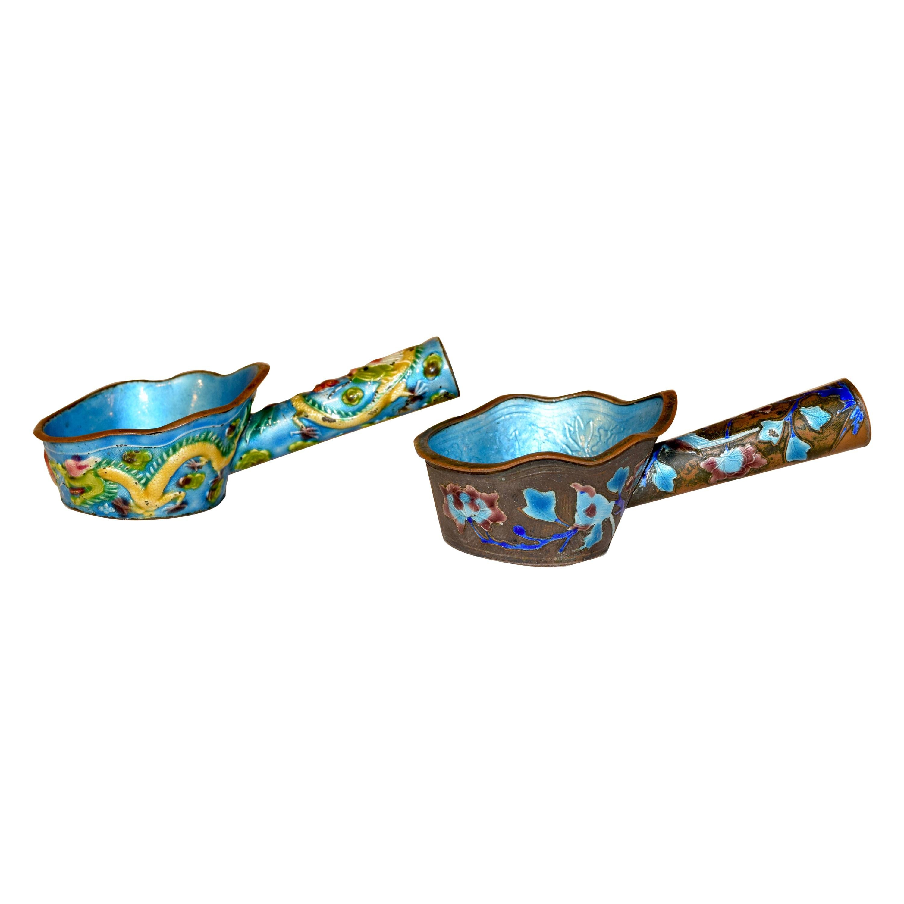 Pair of 19th Century Chinese Enameled Ladles