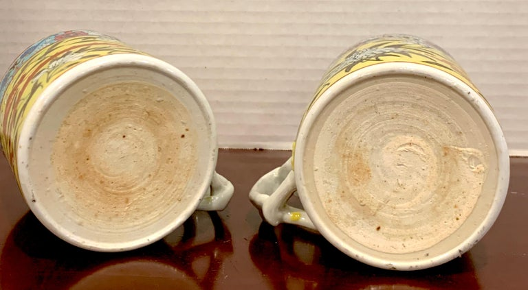 Pair of 19th Century Chinese Export Famille Verte Yellow Dragon Motif Mugs For Sale 5