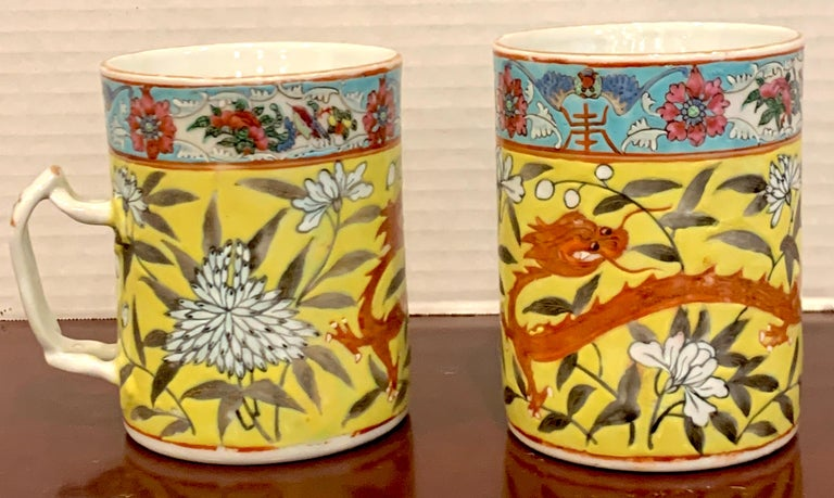 Porcelain Pair of 19th Century Chinese Export Famille Verte Yellow Dragon Motif Mugs For Sale