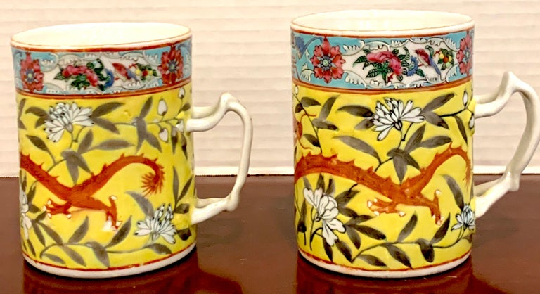 Pair of 19th Century Chinese Export Famille Verte Yellow Dragon Motif Mugs For Sale 1