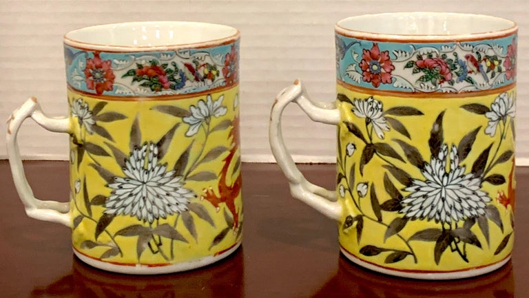Pair of 19th Century Chinese Export Famille Verte Yellow Dragon Motif Mugs For Sale 3