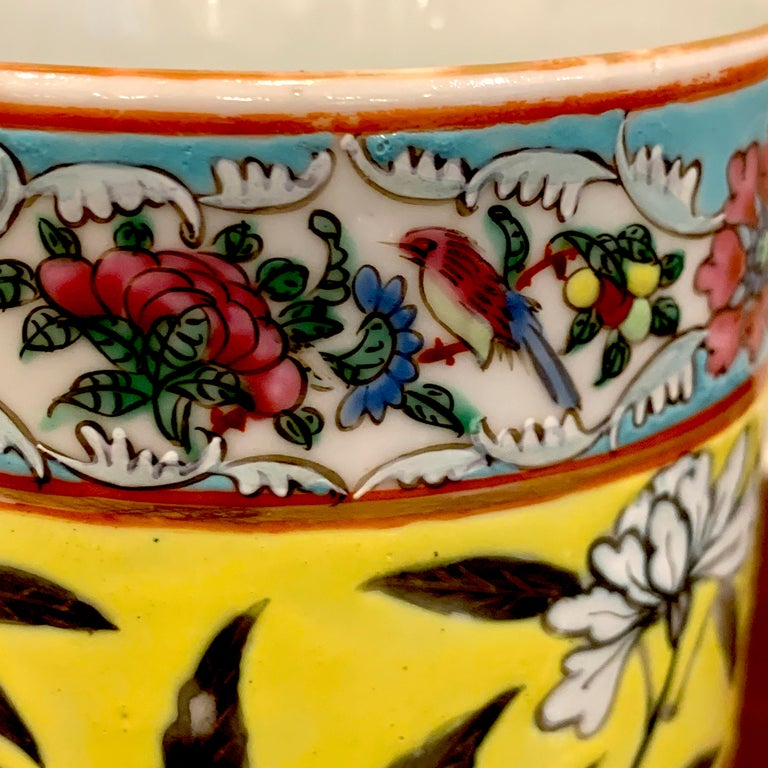 Pair of 19th Century Chinese Export Famille Verte Yellow Dragon Motif Mugs For Sale 4