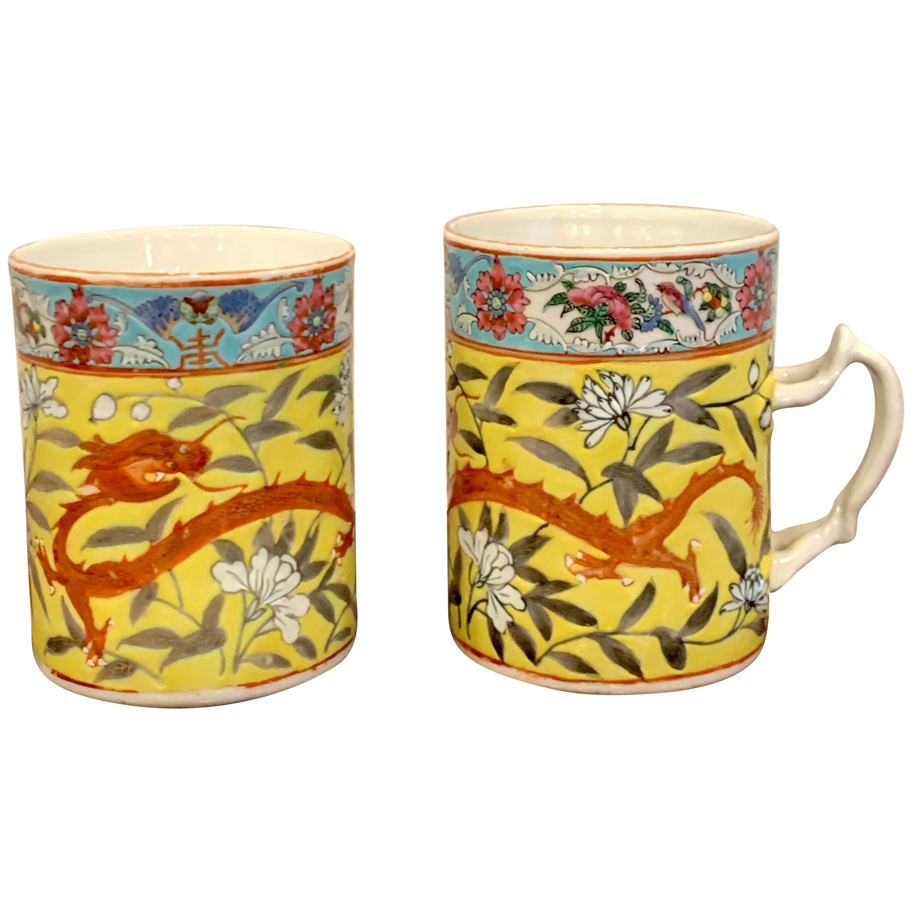 Pair of 19th Century Chinese Export Famille Verte Yellow Dragon Motif Mugs