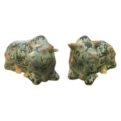 Pair of 19th Century Chinese Export Porcelain Oxen