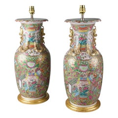 Pair of 19th Century Chinese Famille Rose Canton Table Lamps