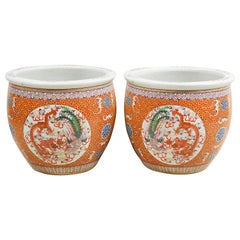 Pair of 19th Century Chinese Famille Rose Jardinières