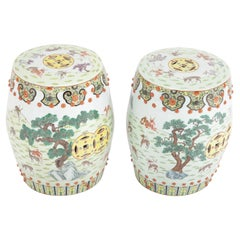 Pair of 19th Century Chinese Famille Rose Porcelain Garden Seat