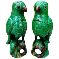 Pair of 19th Century Chinese Glazed Birds or Parrots