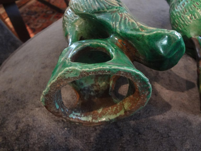 Pair of 19th Century Chinese Glazed Birds or Parrots For Sale 8