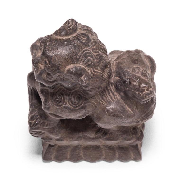 Stone Pair of 19th Century Chinese Guardian Fu Dogs For Sale