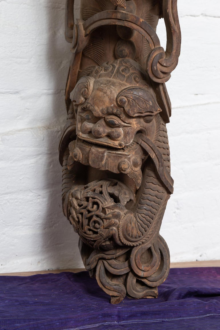 Pair of 19th Century Chinese Guardian Lions Wood Carvings from a Temple Wall For Sale 9