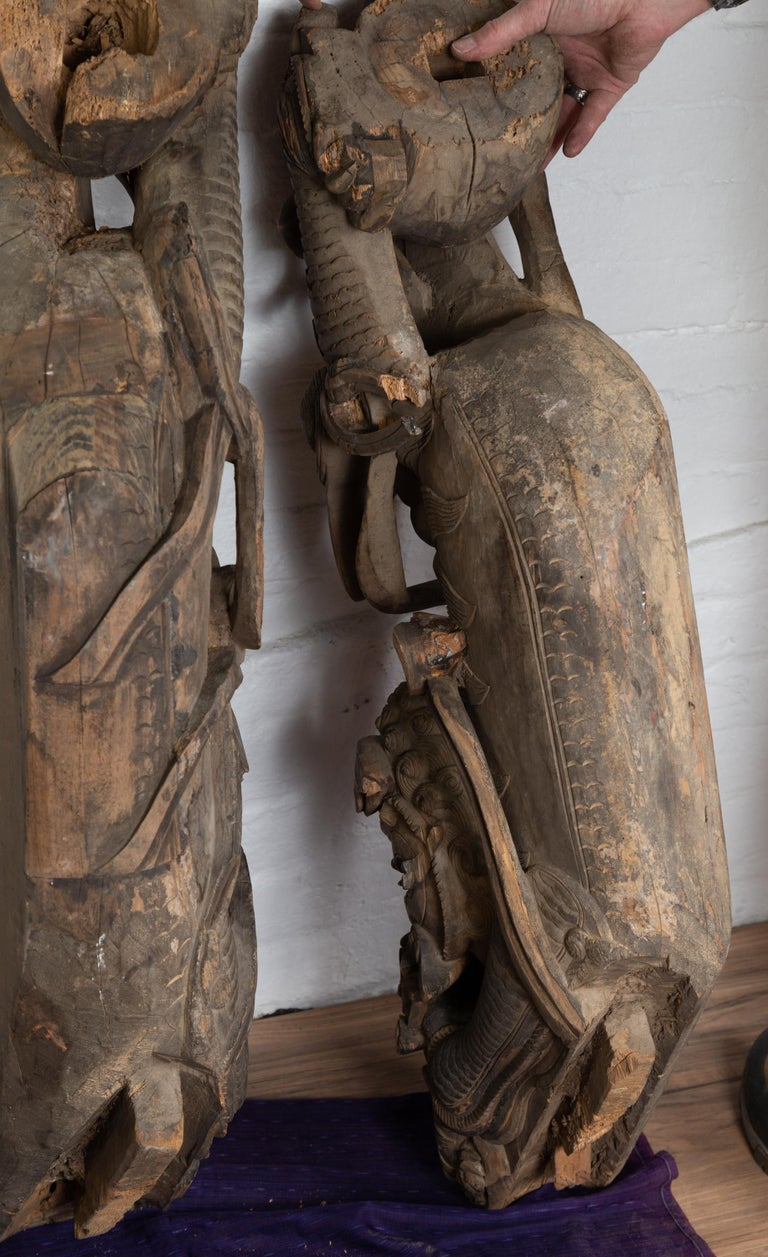 Pair of 19th Century Chinese Guardian Lions Wood Carvings from a Temple Wall For Sale 11