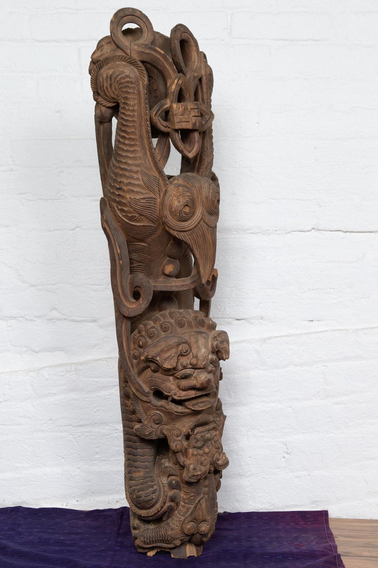 Pair of 19th Century Chinese Guardian Lions Wood Carvings from a Temple Wall For Sale 1