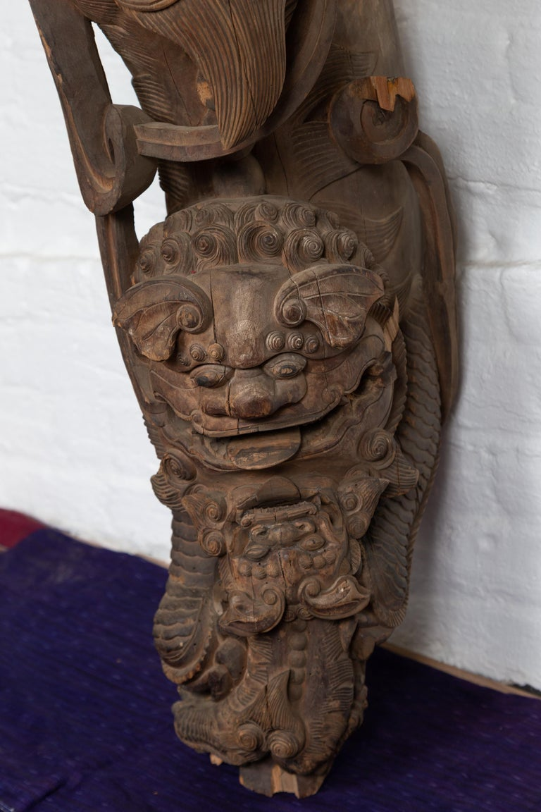 Pair of 19th Century Chinese Guardian Lions Wood Carvings from a Temple Wall For Sale 3