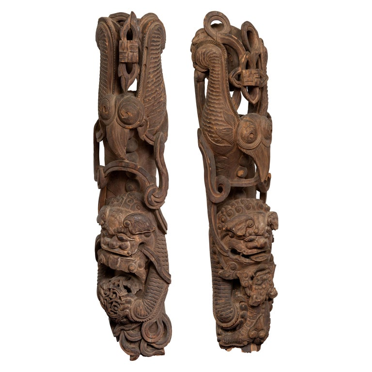 Pair of 19th Century Chinese Guardian Lions Wood Carvings from a Temple Wall For Sale