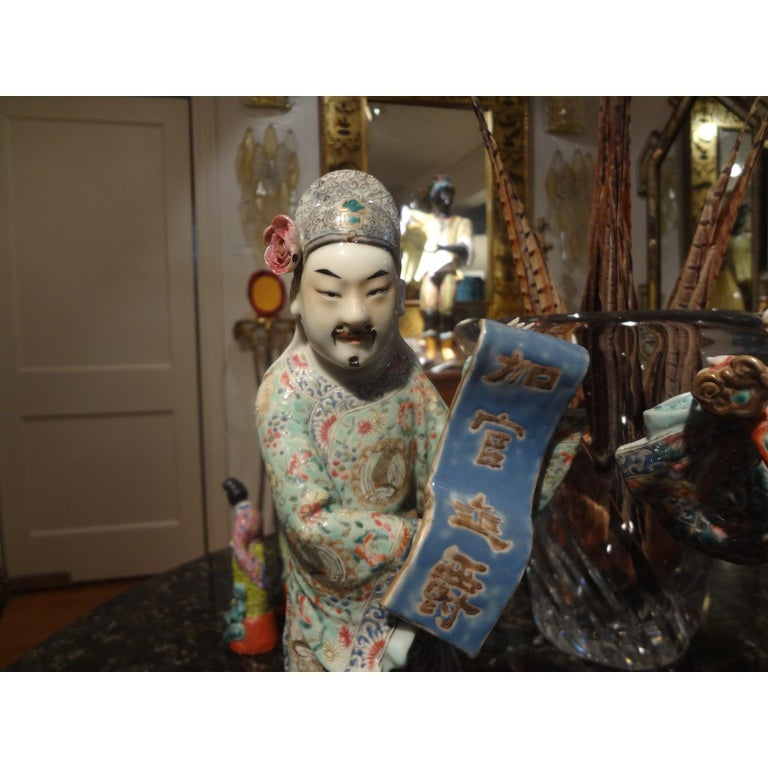 Chinese Export Pair of 19th Century Chinese Hand Decorated Porcelain Figures For Sale