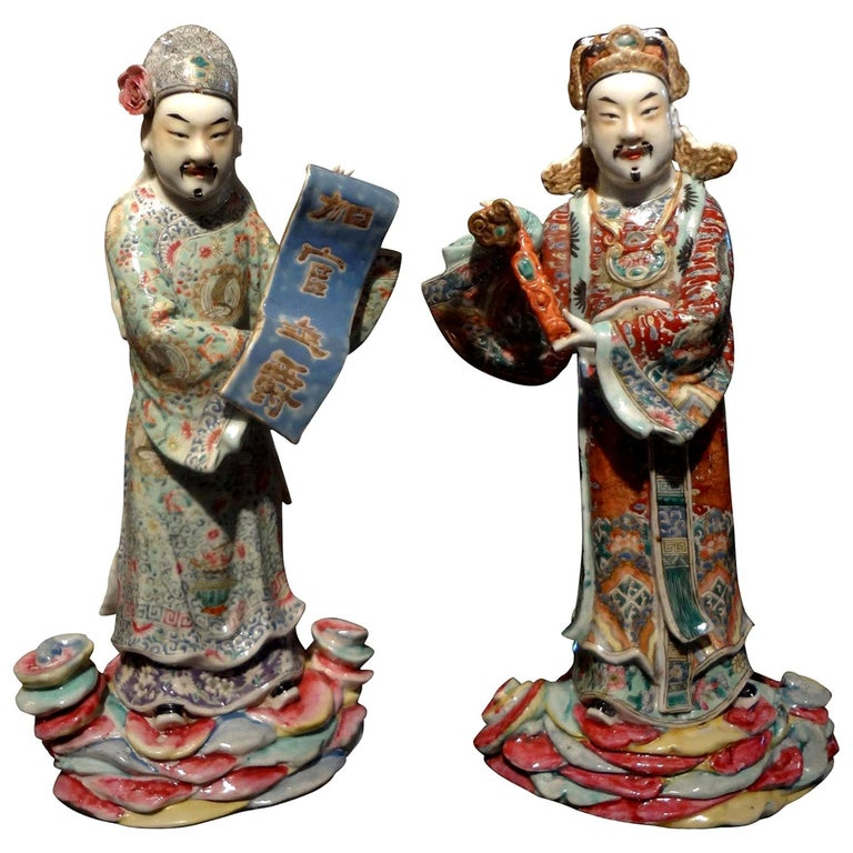 Pair of 19th Century Chinese Hand Decorated Porcelain Figures For Sale
