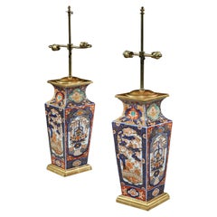 Pair of 19th Century Chinese Imari Vases Now Mounted as Lamps