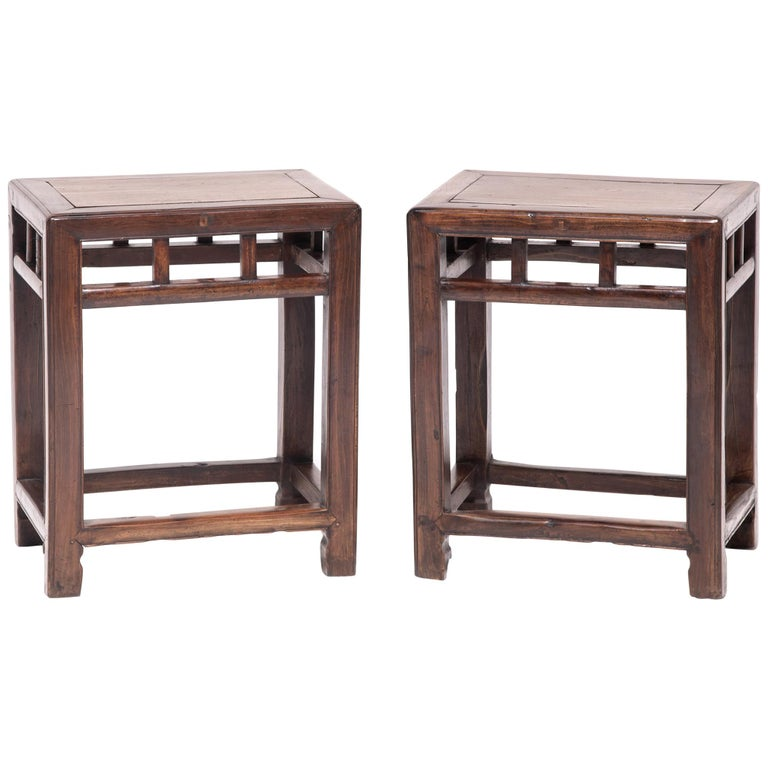 Pair of 19th Century Chinese Jia Zhen and Beech Half Stools For Sale