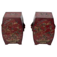 Pair of 19th Century Chinese Lacquered Garden Stools or End Tables